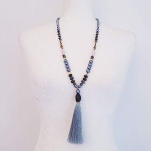 NAKAMOL Long Beaded Tassle Necklace